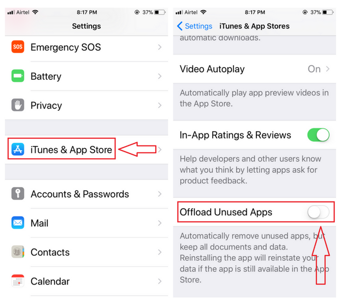 enable offloading apps on iPhone iOS 11