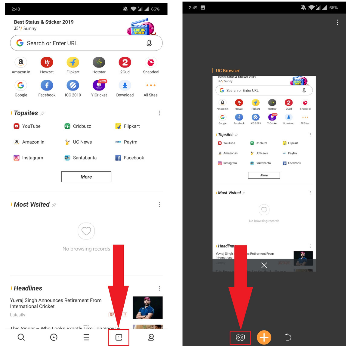 how to turn on incognito mode in uc browser on android